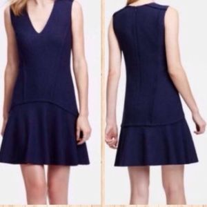 Ann Taylor Navy Blue Wool Flounce Dress 4 NWT